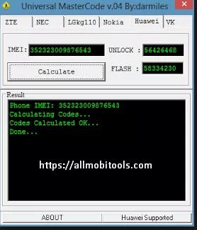 Universal Master Code Calculator