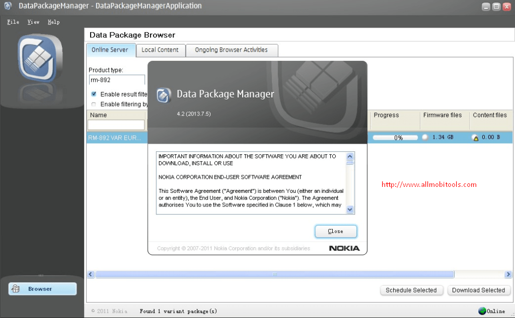 Nokia Data Package Manager
