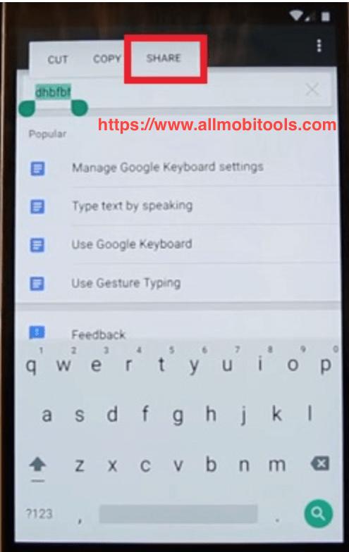 tap on share button screenshot